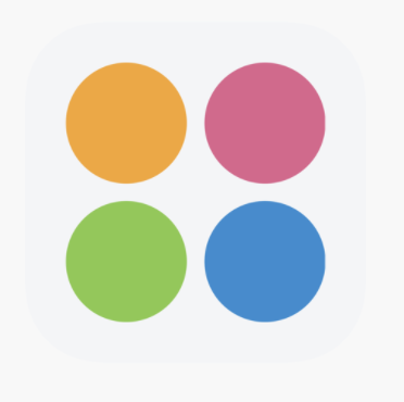 juggle app logo - orange, red, blue and green circles arranged in a square